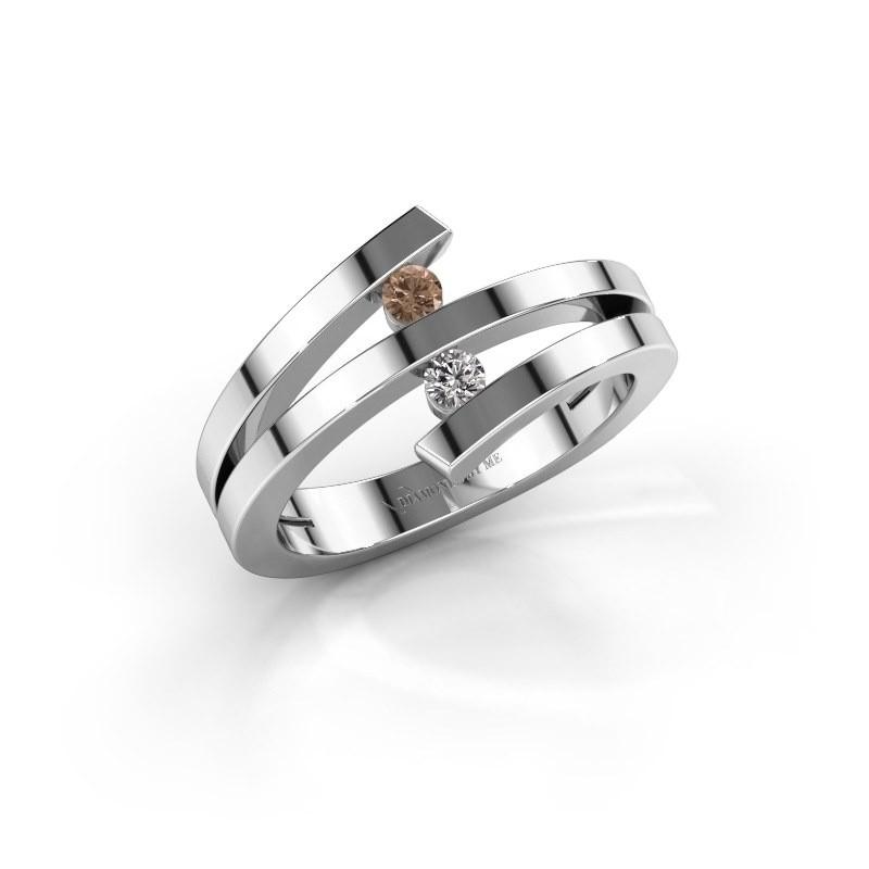 Ring Synthia 950 platina bruine diamant 0.12 crt