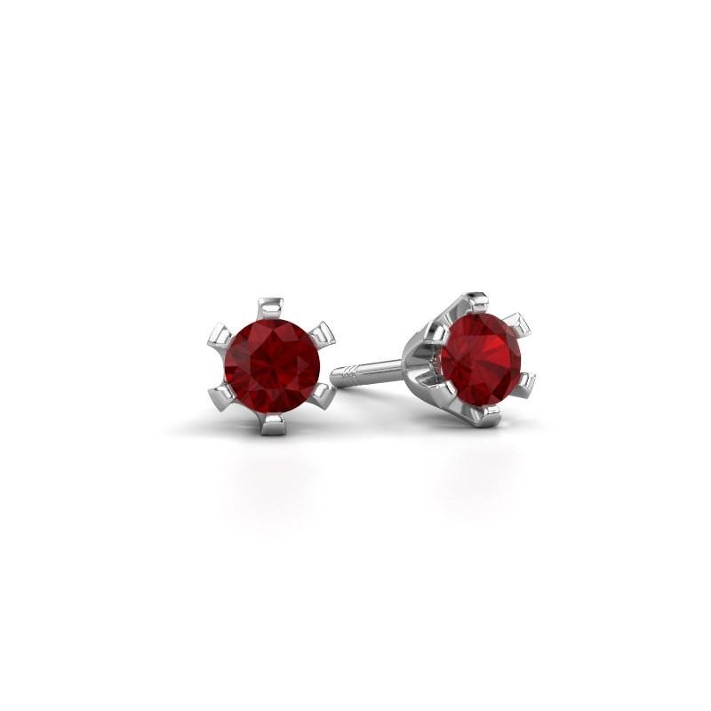 Stud earrings Shana 950 platinum ruby 4 mm