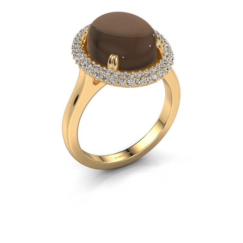 Ring Jayna 585 goud rookkwarts 12x10 mm