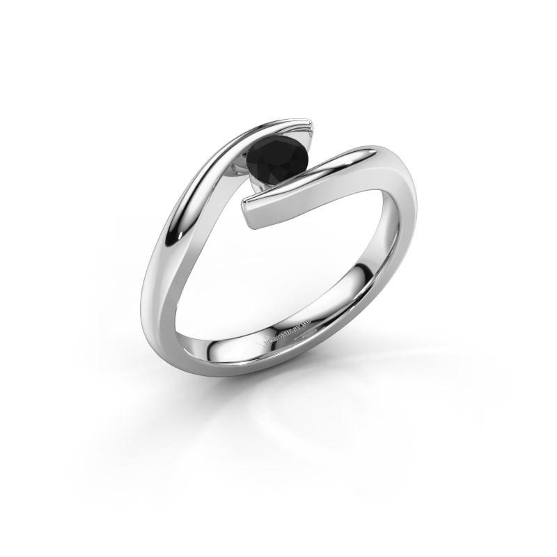 Engagement ring Alaina 585 white gold black diamond 0.30 crt