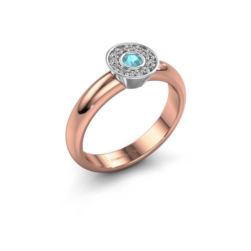 Ring Fiene 585 rose gold blue topaz 2.8 mm