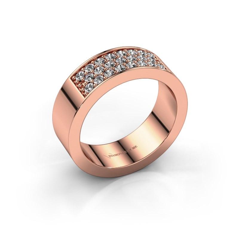 Ring Lindsey 5 585 rosé goud diamant 0.46 crt
