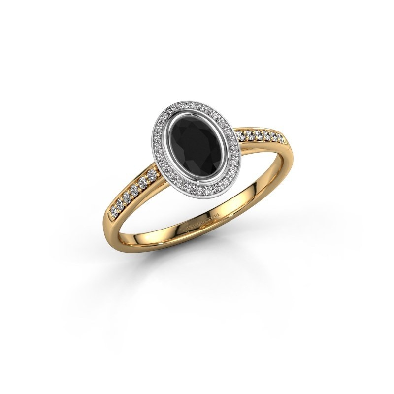 Engagement ring Noud 2 OVL 585 gold black diamond 0.74 crt