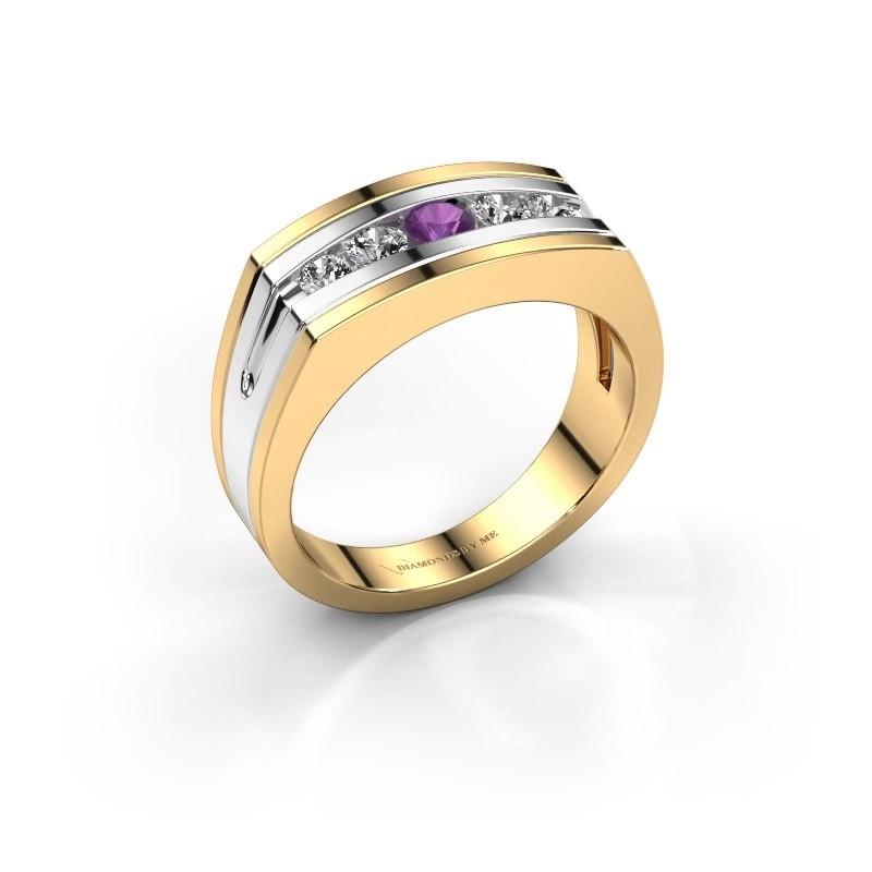 Heren ring Huub 585 goud amethist 3.7 mm