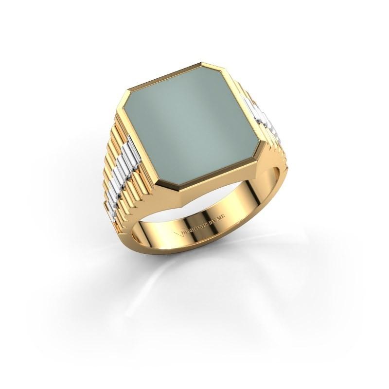 Zegelring Brent 3 585 goud groene lagensteen 14x12 mm