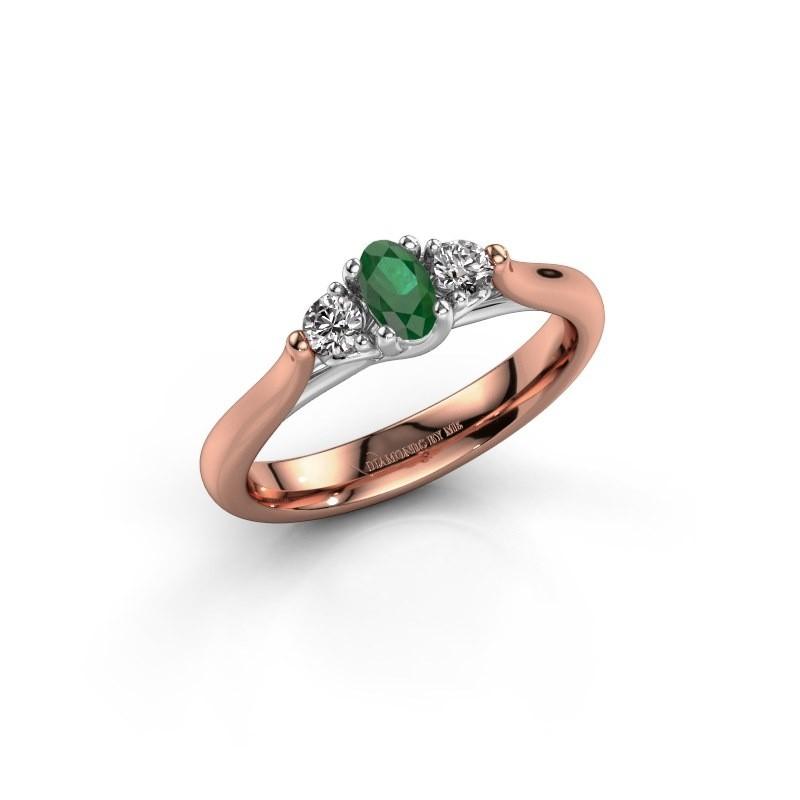 Verlovingsring Jente OVL 585 rosé goud smaragd 5x3 mm