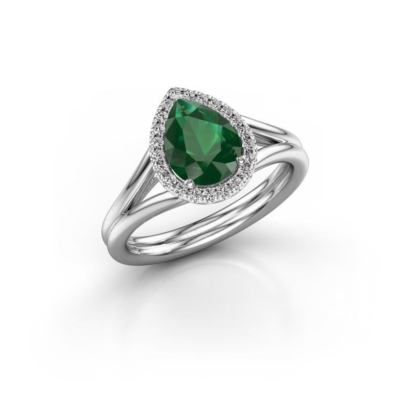Verlovingsring Elenore 585 witgoud smaragd 8x6 mm