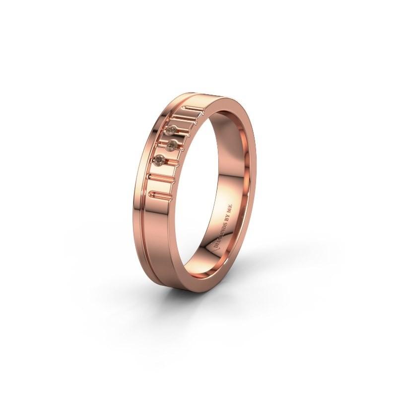 Vriendschapsring WH0332L14X 585 rosé goud bruine diamant ±4x1.5 mm