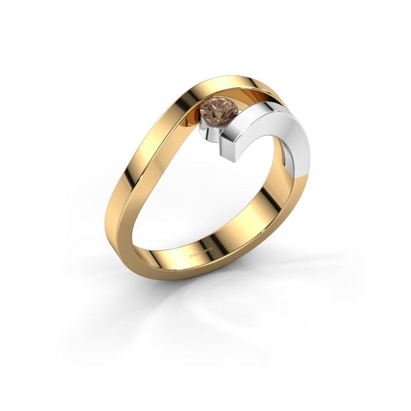 Ring Evalyn 1 585 goud bruine diamant 0.20 crt