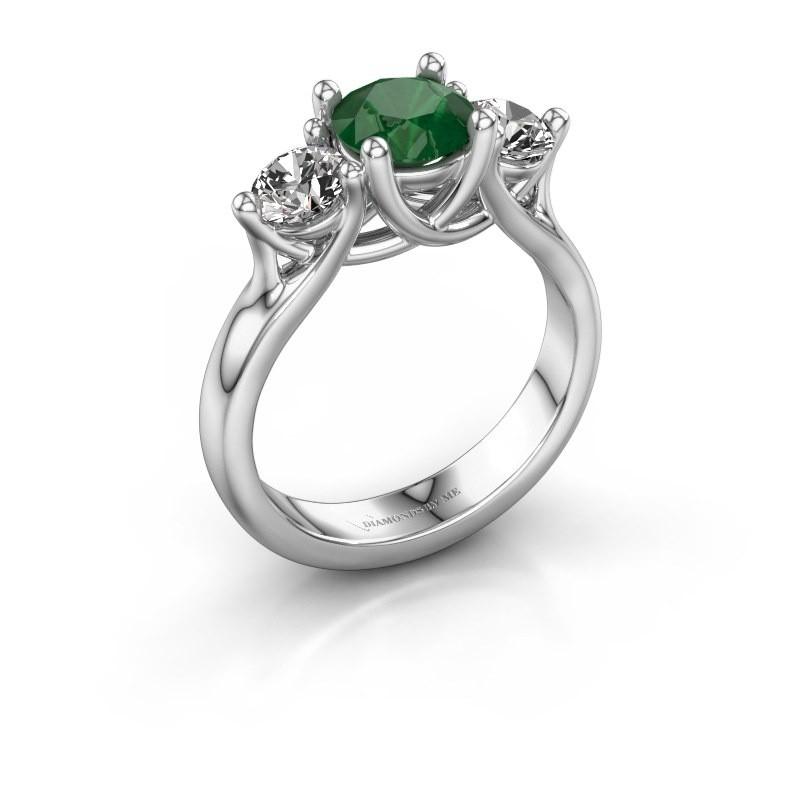 Verlovingsring Esila 950 platina smaragd 6.5 mm