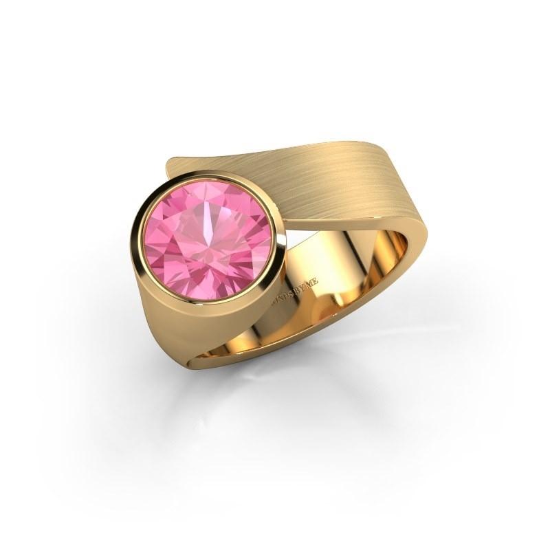 Ring Nakia 585 goud roze saffier 8 mm