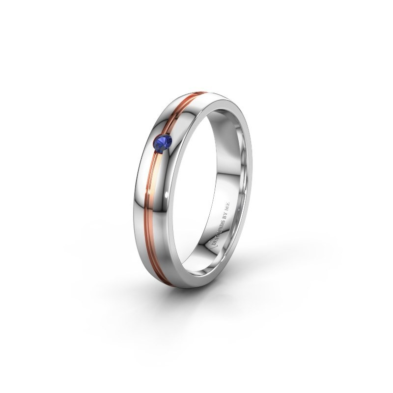 Wedding ring WH0424L24A 585 white gold sapphire ±4x1.7 mm