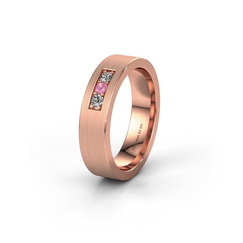 Wedding ring WH0110L15BM 375 rose gold pink sapphire ±5x2 mm