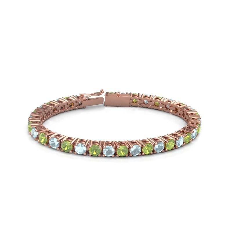 Tennisarmband Ming 375 rosé goud peridoot 5 mm