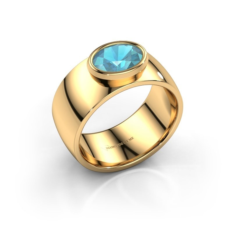 Ring Wilma 1 585 goud blauw topaas 8x6 mm
