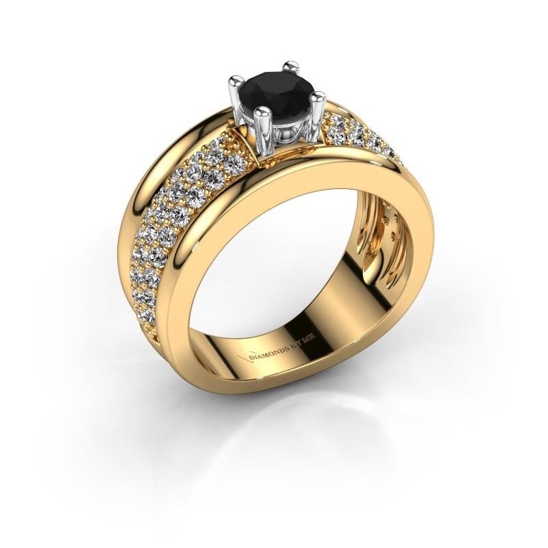 Ring Alicia 585 goud zwarte diamant 1.41 crt