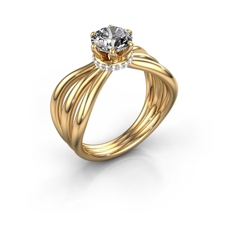 Bague de fiançailles Kimi 375 or jaune diamant 1.00 crt