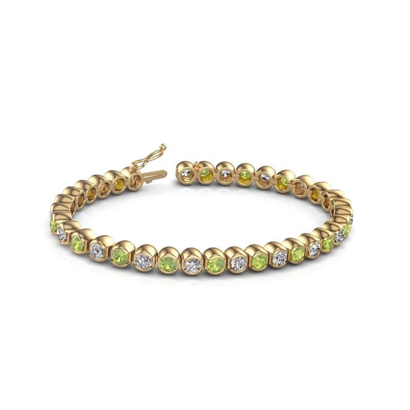 Tennis bracelet Bianca 375 gold peridot 4 mm