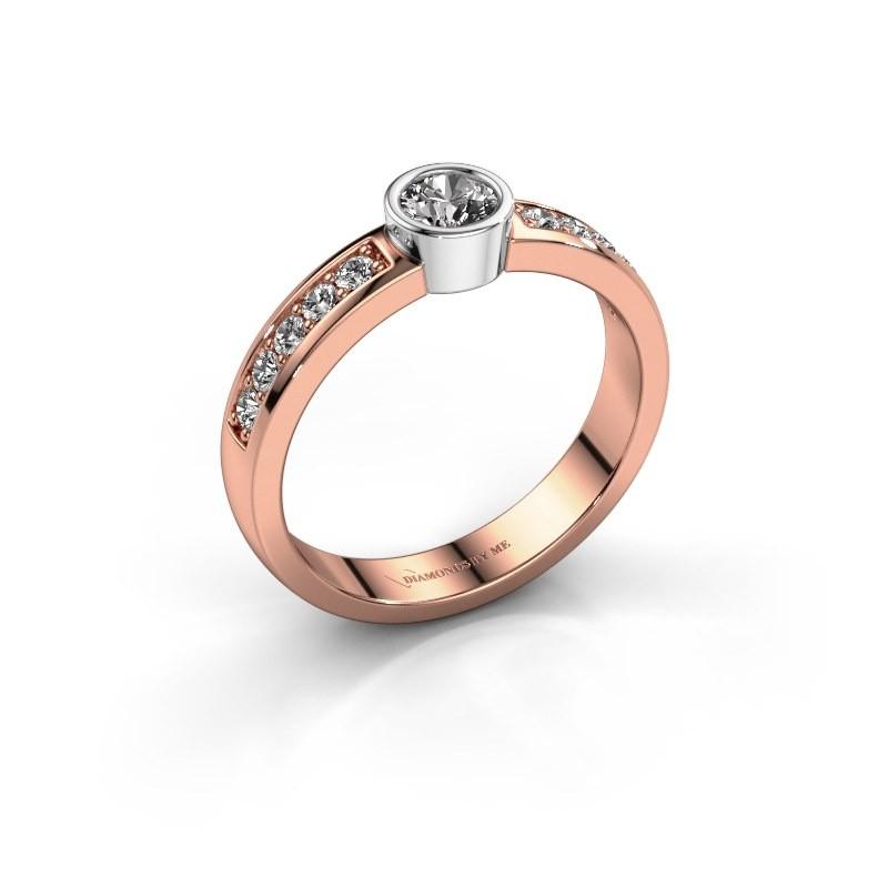 Aanzoeksring Ise 2 585 rosé goud diamant 0.50 crt