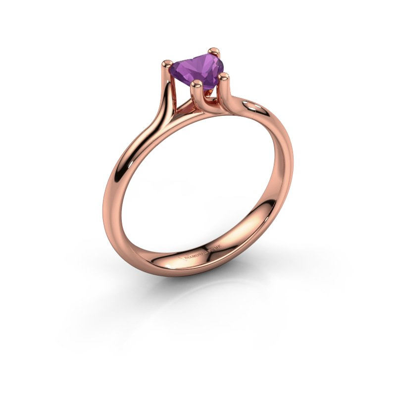 Engagement ring Dewi Heart 585 rose gold amethyst 5 mm