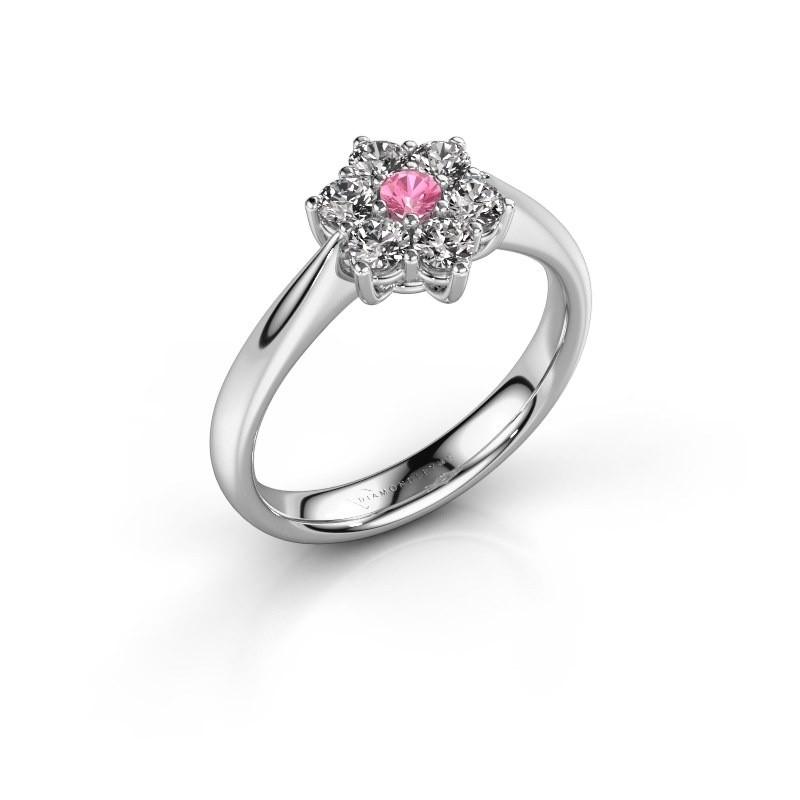 Promise ring Chantal 1 585 witgoud roze saffier 2.7 mm
