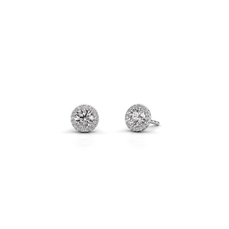 Oorbellen Seline rnd 585 witgoud diamant 1.16 crt