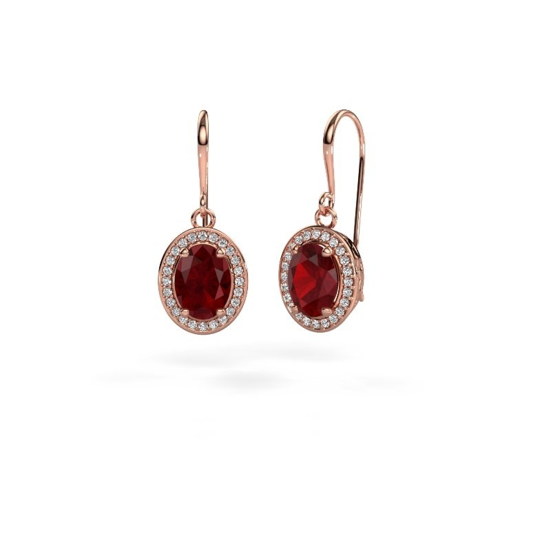 Drop earrings Latesha 375 rose gold ruby 8x6 mm