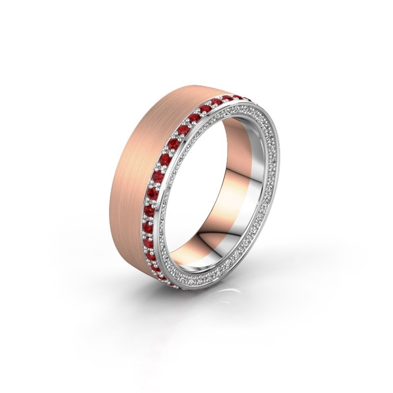 Wedding ring WH2224L26C8 585 rose gold ruby 1.3 mm ±6x2.2 mm