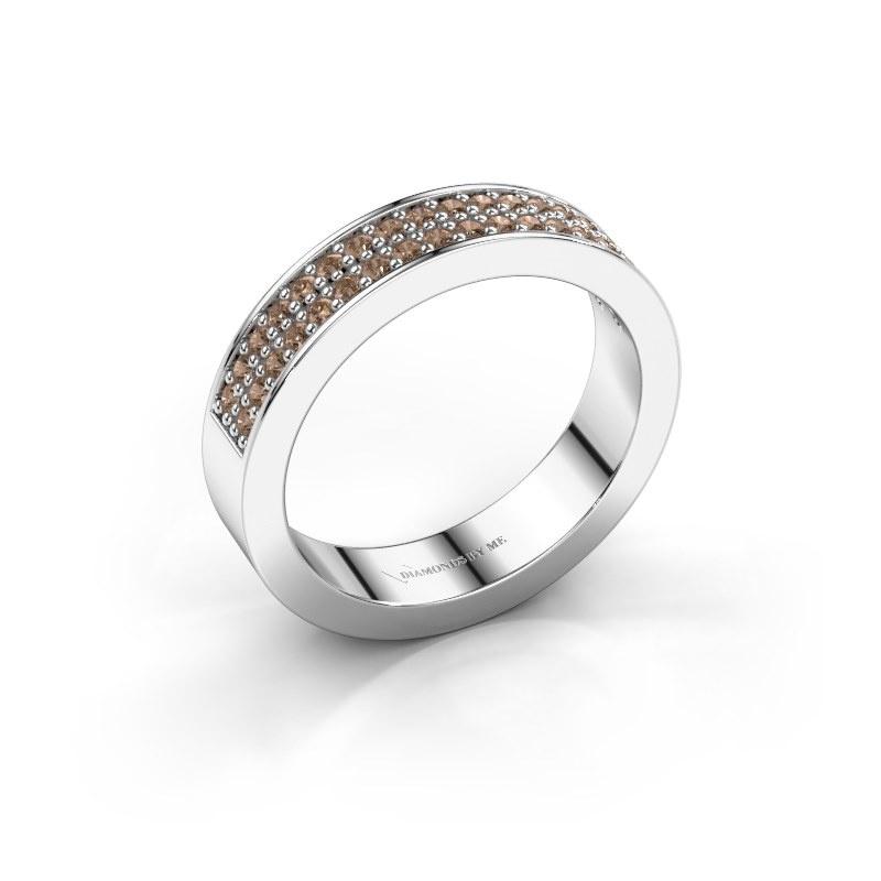 Aanschuifring Catharina 4 585 witgoud bruine diamant 0.36 crt