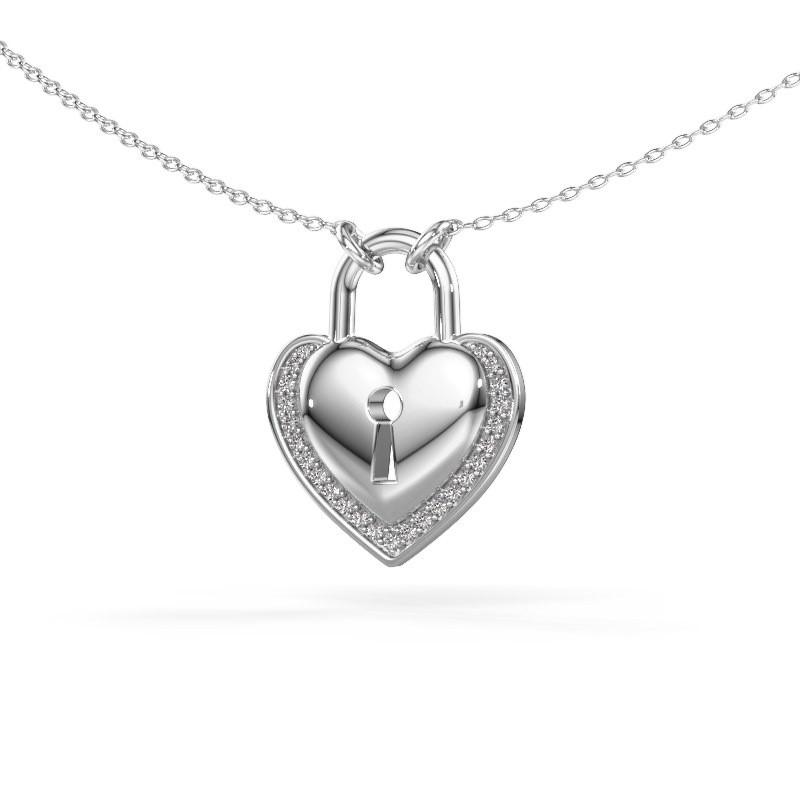 Halsketting Heartlock 375 witgoud zirkonia 1 mm