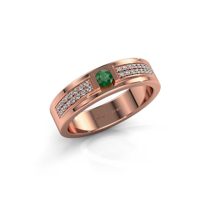 Ring Chanell 375 rosé goud smaragd 3 mm