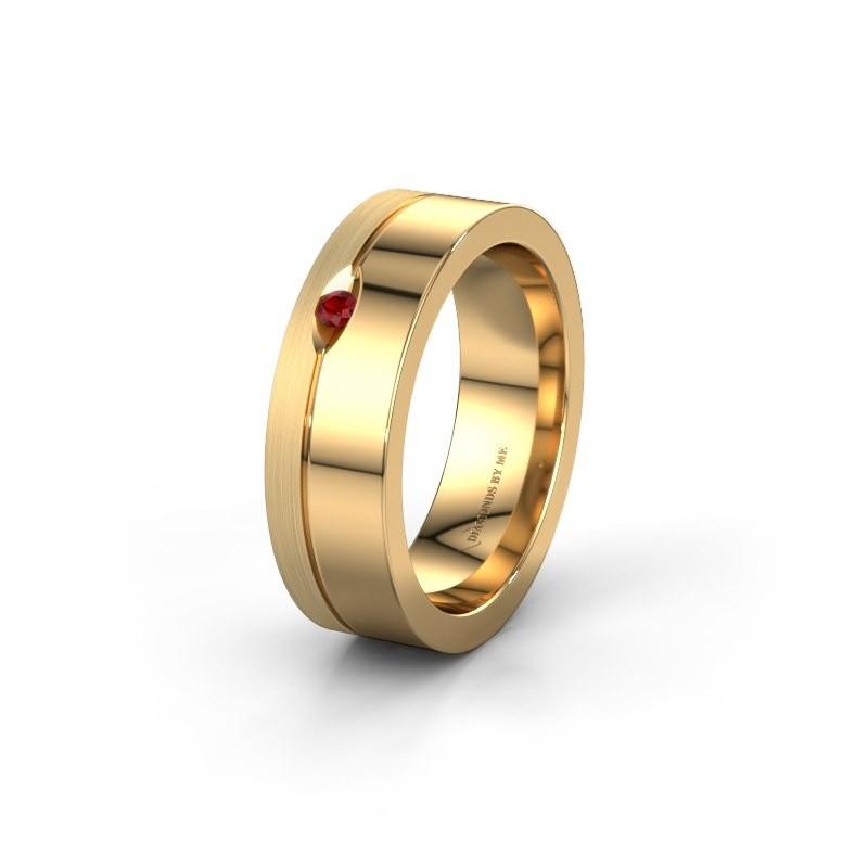 Trouwring WH0329L16B 585 goud robijn ±6x2 mm