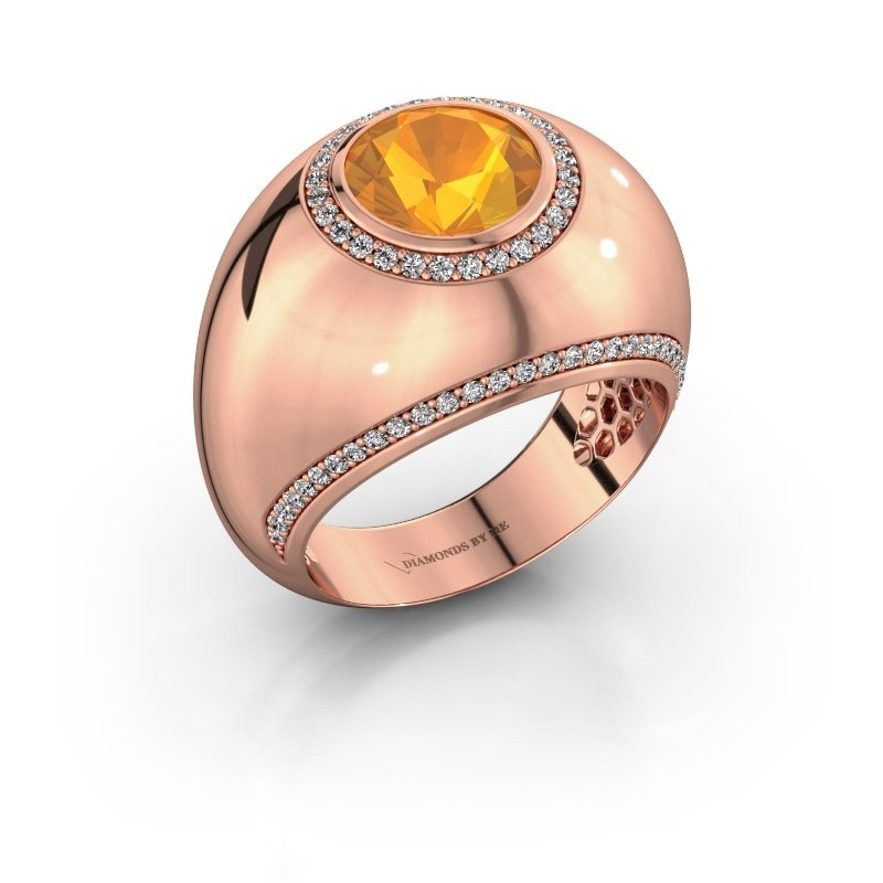 Ring Roxann 375 rosé goud citrien 8 mm