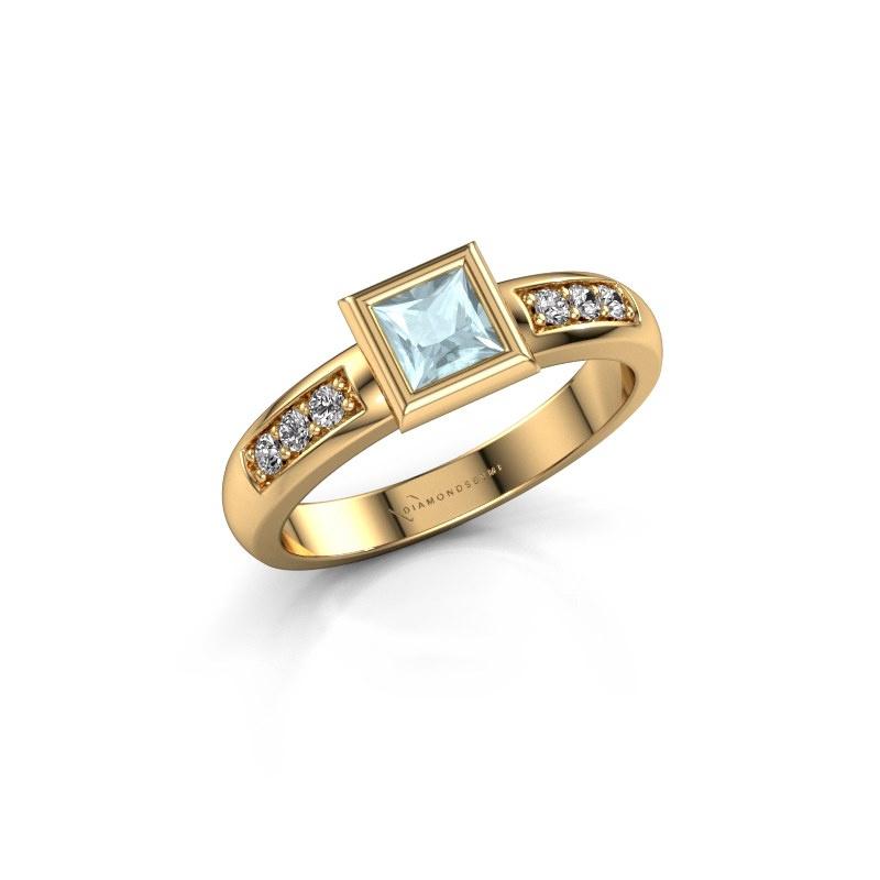 Stacking ring Lieke Square 585 gold aquamarine 4 mm