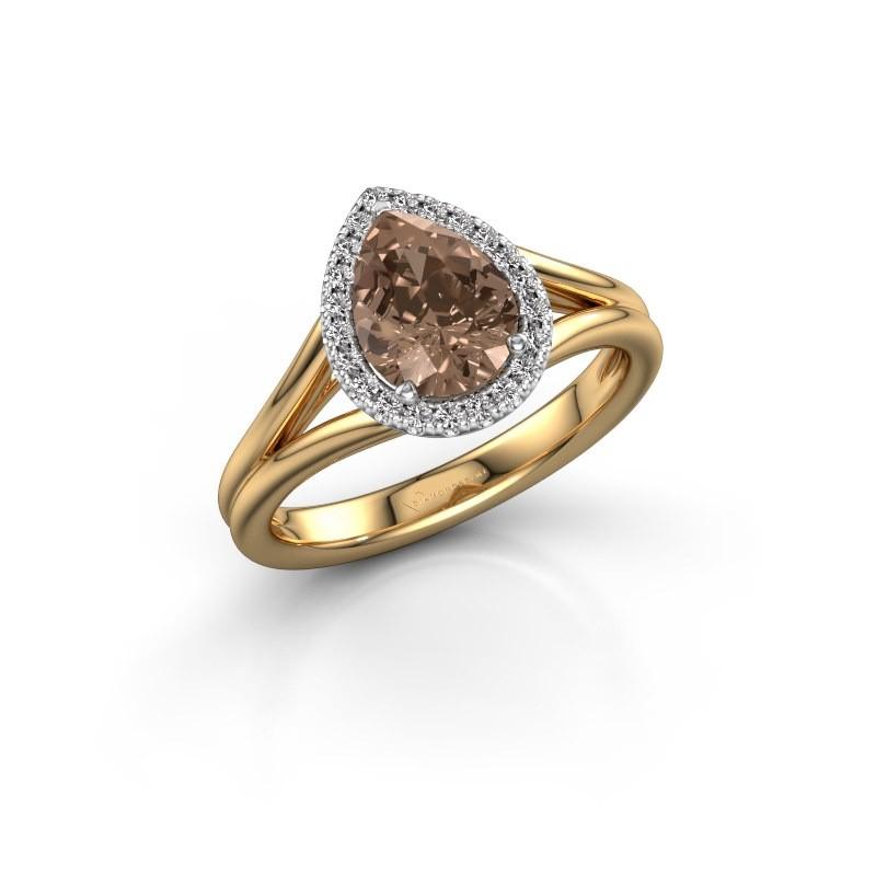 Verlovingsring Verla pear 1 585 goud bruine diamant 1.097 crt
