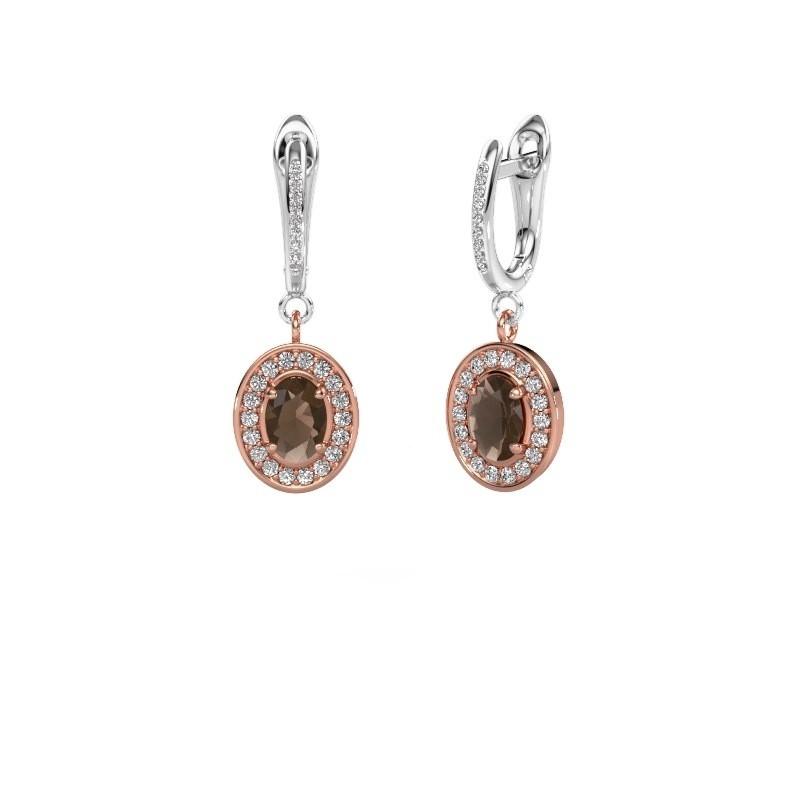Oorhangers Layne 2 585 rosé goud rookkwarts 7x5 mm