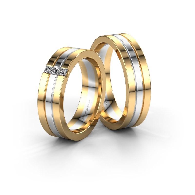 Trouwringen set WH0428LM16BP ±6x2 mm 14 karaat goud diamant 0.05 crt