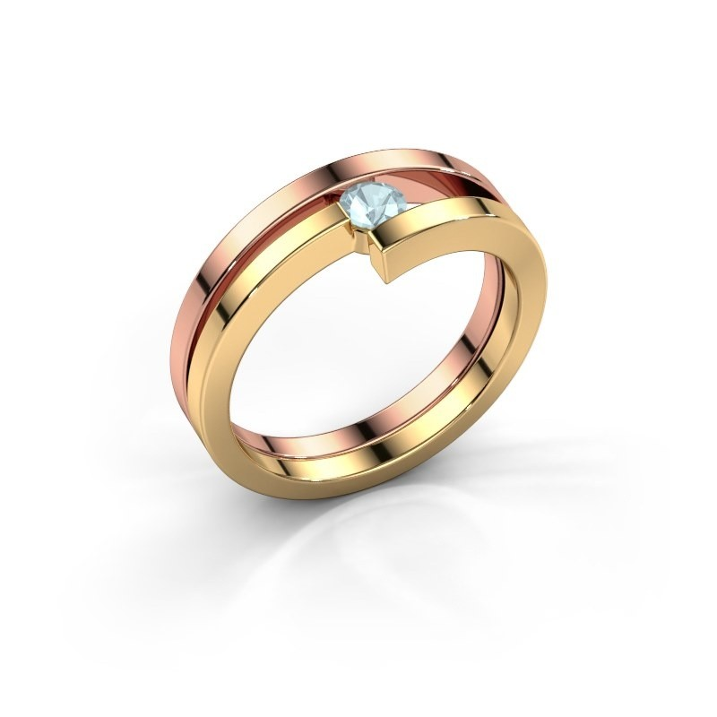 Ring Nikia 585 rosé goud aquamarijn 3.4 mm