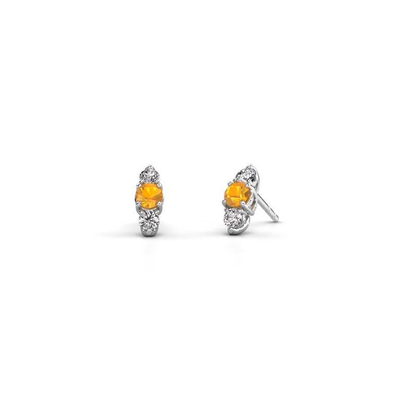 Oorbellen Amie 925 zilver citrien 4 mm