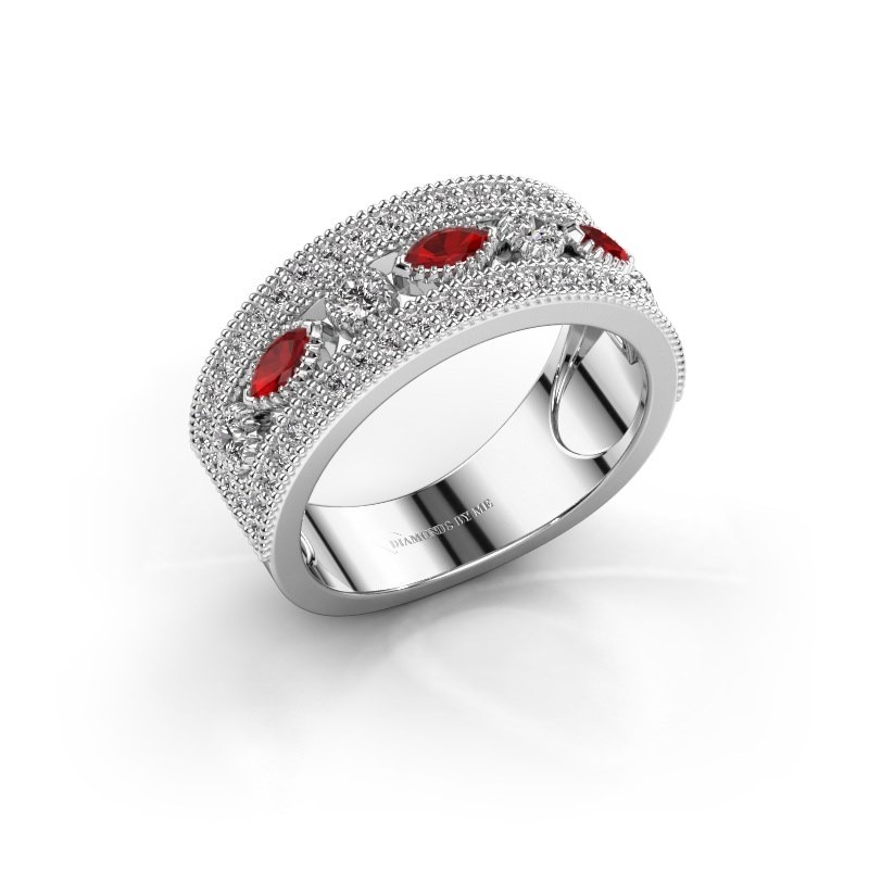 Ring Henna 925 zilver robijn 4x2 mm