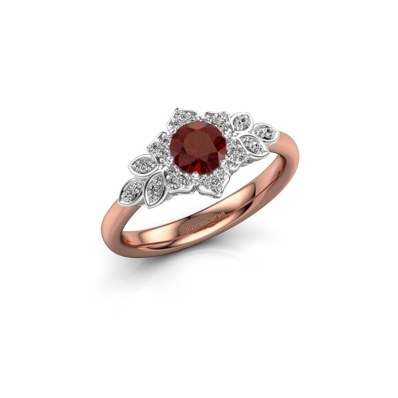 Engagement ring Tatjana 585 rose gold garnet 5 mm