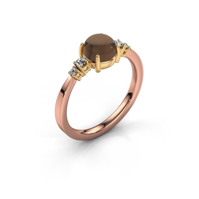 Ring Regine 585 rosé goud rookkwarts 6 mm