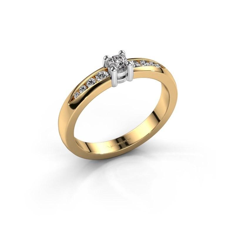 Bague de fiançailles Zohra 585 or jaune diamant synthétique 0.237 crt