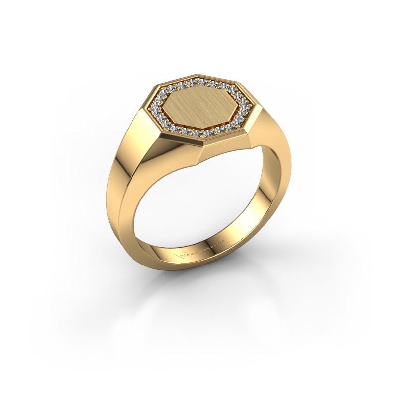 Men's ring Floris Octa 2 585 gold zirconia 1.2 mm