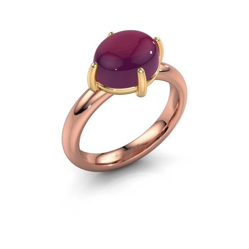 Ring Melodee 585 rosé goud rhodoliet 10x8 mm