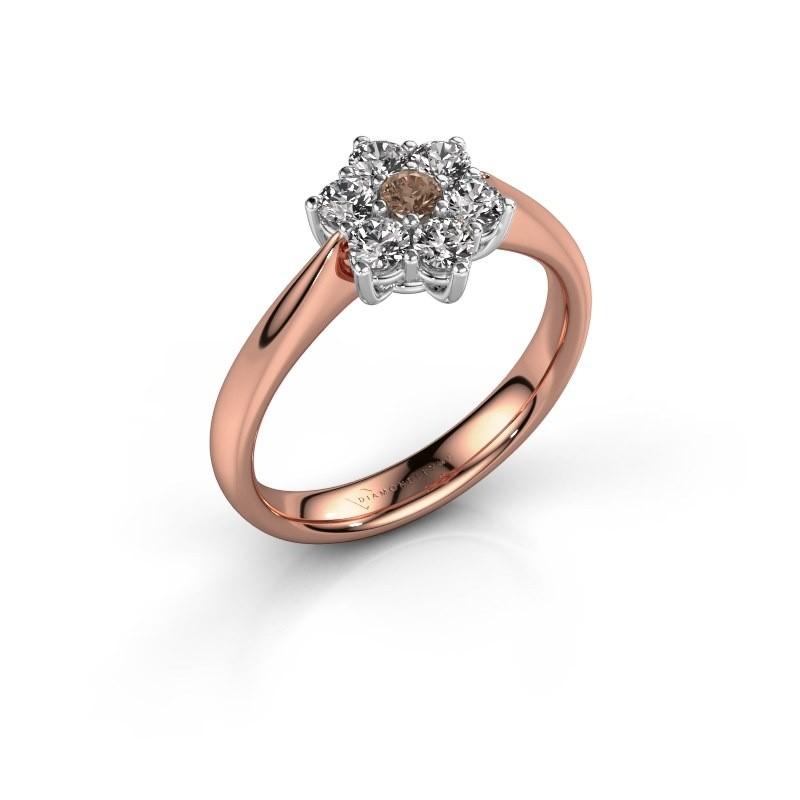 Promise ring Chantal 1 585 rosé goud bruine diamant 0.08 crt