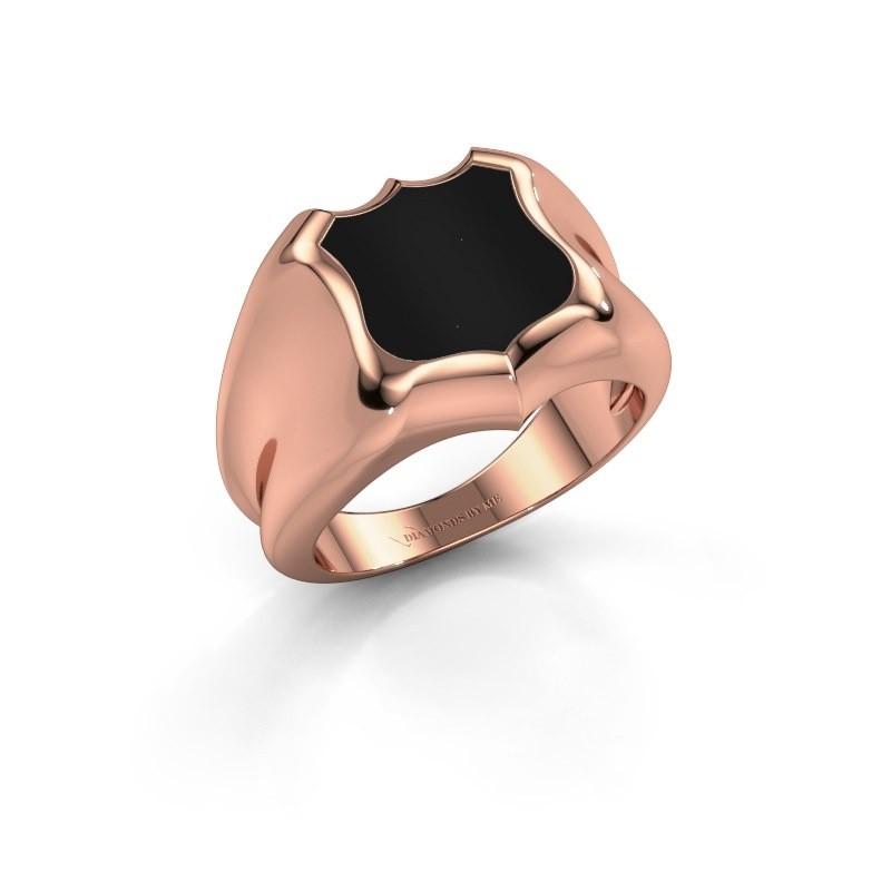 Zegelring Nevin 375 rosé goud onyx 12x12 mm