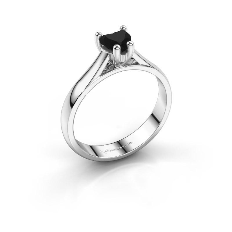 Verlobungsring Sam Heart 925 Silber Schwarz Diamant 0.60 crt