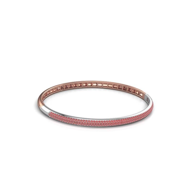 Slavenarmband Emely 4mm 585 rosé goud robijn 1.1 mm