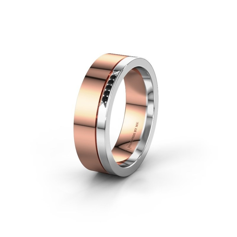 Weddings ring WH0336L16A 585 rose gold black diamond ±6x1.7 mm